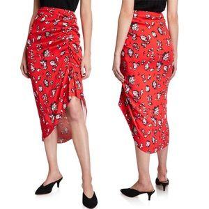 NWT Veronica Beard Cheryl Floral ruched Skirt 0